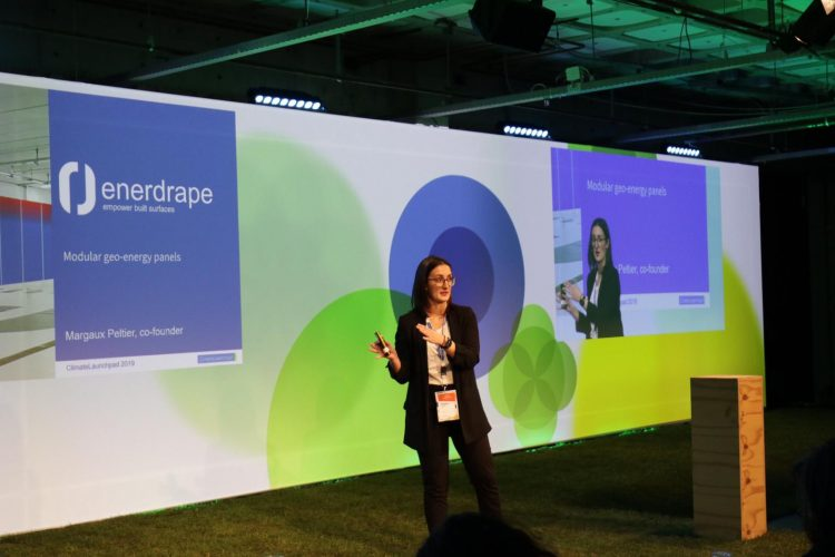 Margaux Peltier, co-founder of Enerdrape, during her pitch at the Final (picture: ClimateLaunchpad)